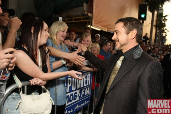 Robert Downey Jr. greets the fans