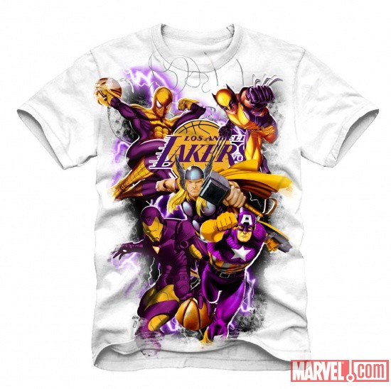 Los Angeles Lakers NBA Marvel Heroes T-Shirt Concept Art