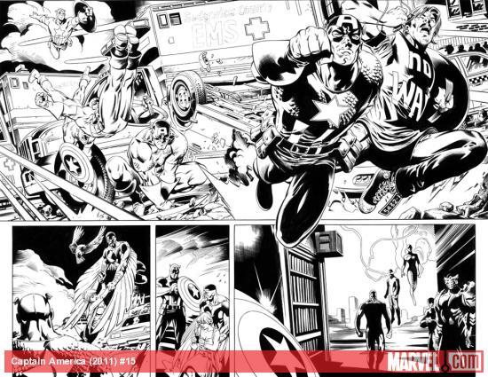 Captain America (2011) #15 preview inks by Scot Eaton