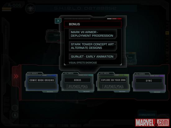Screenshot of S.H.I.E.L.D. Files from the Second Screen Experience app