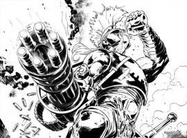 DARK AVENGERS: ARES #1 black and white preview art by Manuel Garcia