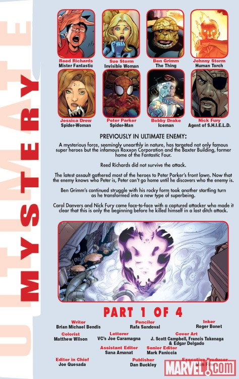 ULTIMATE COMICS MYSTERY #1 recap page