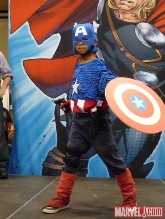 Kid Captain America cosplayer at Marvel's Fan Expo Canada Costume Contest