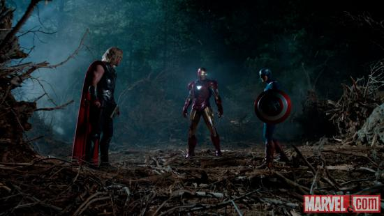 Chris Hemsworth, Robert Downey, Jr., and Chris Evans star as Thor, Iron Man and Captain America in Marvel's The Avengers