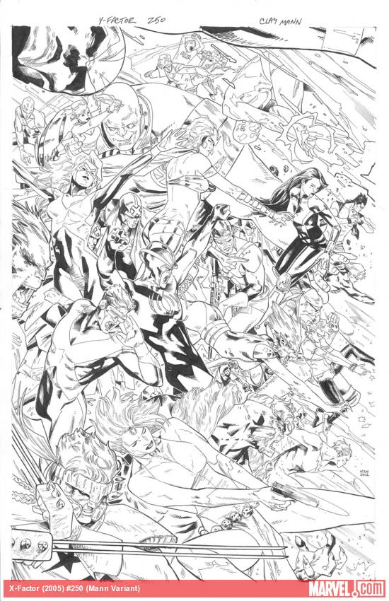 X-Factor #250 variant cover inks by Clay Mann