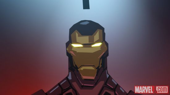 Iron Man ready for action in a color storyboard from Marvel's Avengers Assemble
