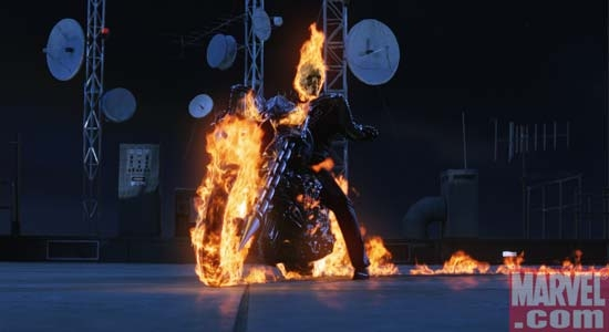 Johnny Blaze with his Hellcycle