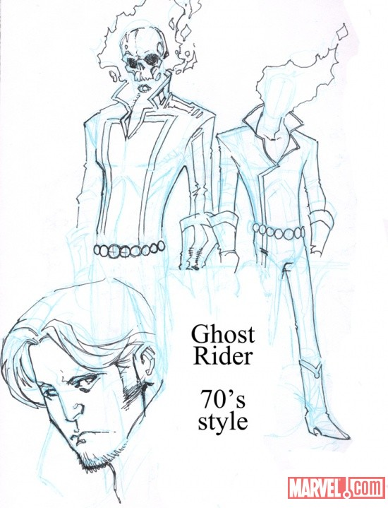 '70s style Ghost Rider sketch by Matthew Clark