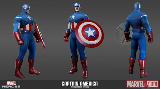 Character render of Captain America (Avengers movie costume from Marvel Heroes)