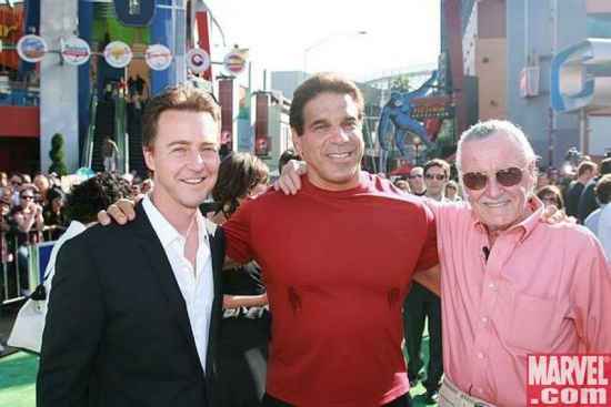 Edward Norton, Lou Ferrigno and Executive Producer Stan Lee