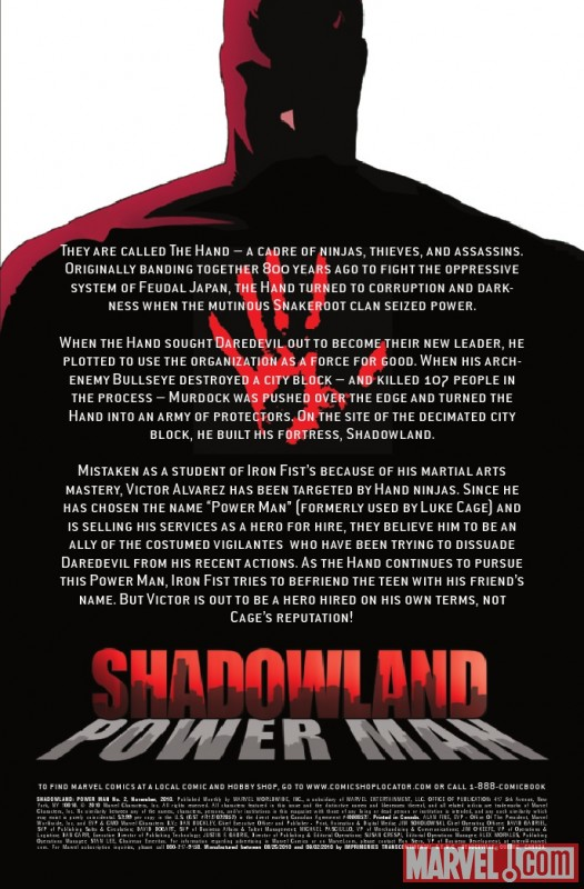 SHADOWLAND: POWER MAN #2 recap page