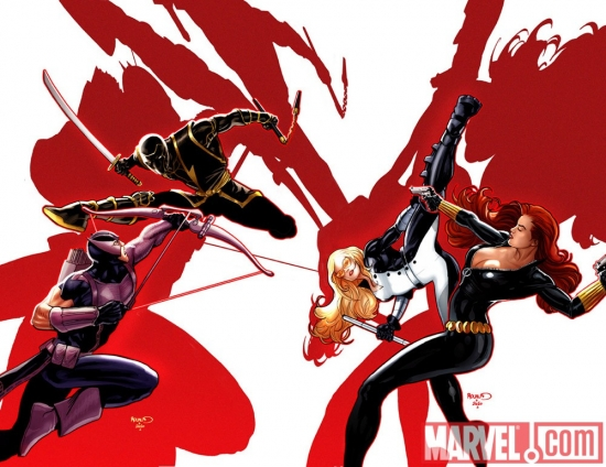 HAWKEYE &amp; MOCKINGBIRD #7 and BLACK WIDOW #9 linked covers by Paul Renaud
