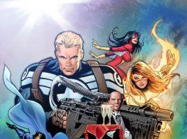 Image Featuring Captain America, Firestar, Spider-Woman (Jessica Drew), Spider-Man, Wolverine, Valkyrie (Samantha Parrington), Edwin Jarvis, Avengers