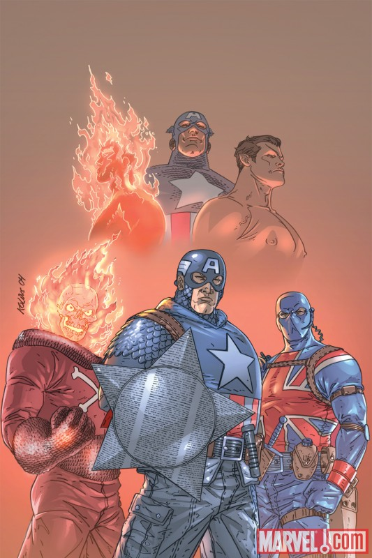 Image Featuring Union Jack (Joseph Chapman), Sub-Mariner, Blazing Skull, Human Torch (Jim Hammond), Invaders, Captain America
