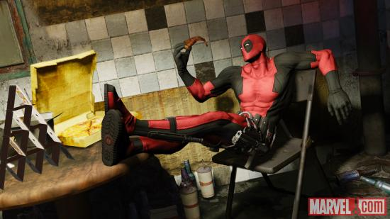 Deadpool enjoys a pizza break while producing his own video game