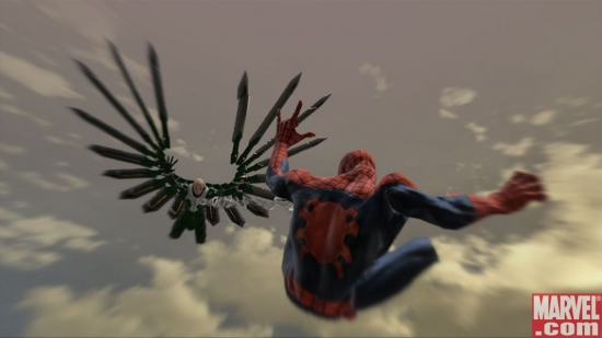 Spider-Man and Vulture mid-air battle