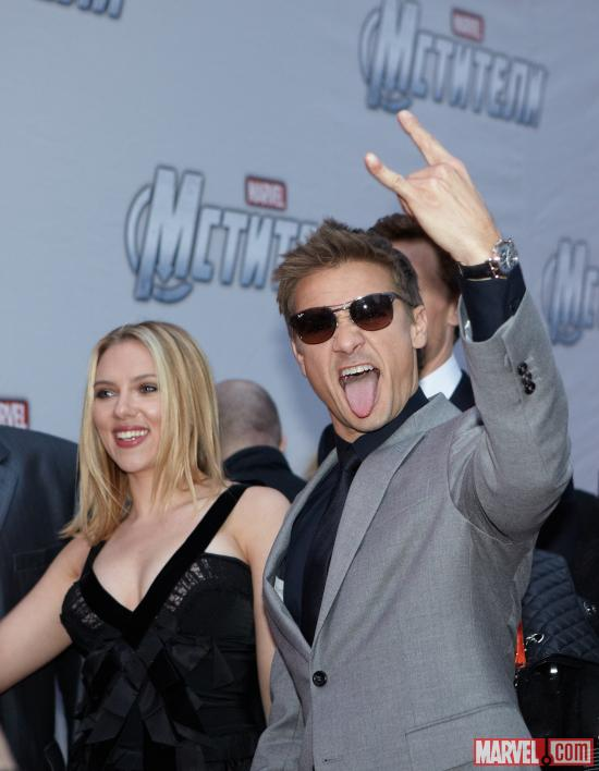 Scarlett Johansson and Jeremy Renner at the Moscow premiere of Marvel's The Avengers