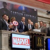 Marvel Executives, NYSE SVP Scott Cutler and Chris Evans at the NYSE. Photo By Ben Hider