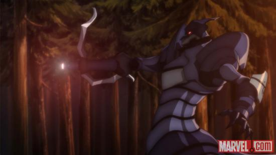 Screenshot of Zodiac's Sagittarius from the Iron Man anime