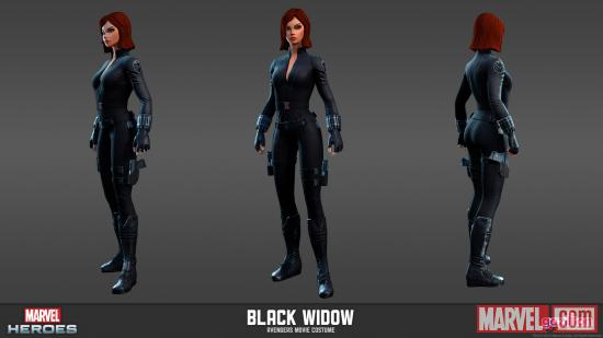 Character render of Black Widow (Avengers movie costume from Marvel Heroes)