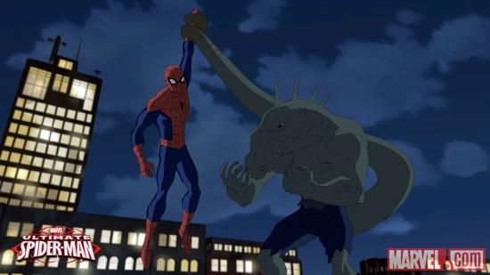 Screenshot of Spider-Man &amp; the Lizard from the Season 2 premiere of Ultimate Spider-Man