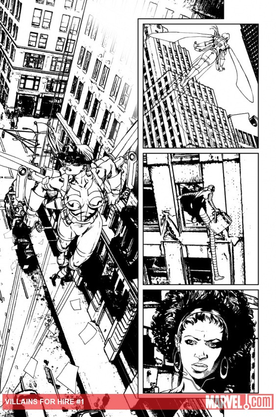 Villains for Hire #1 black and white preview art by Renato Arlem