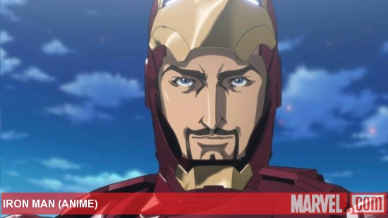 Tony Stark smiles for his closeup in the Iron Man anime