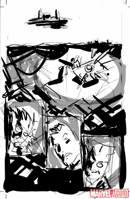 SECRET AVENGERS #1 sketch page by Mike Deodato 3