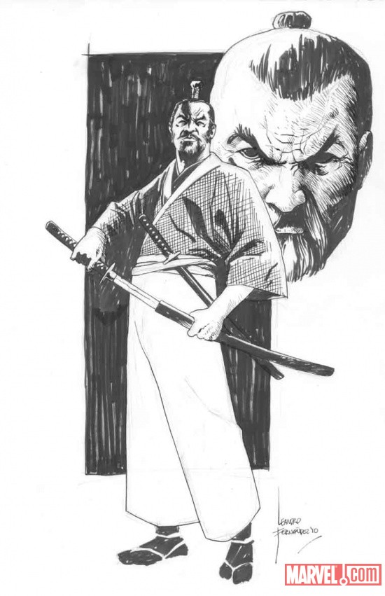 5 Ronin Deadpool sketch art by Leandro Fernandez