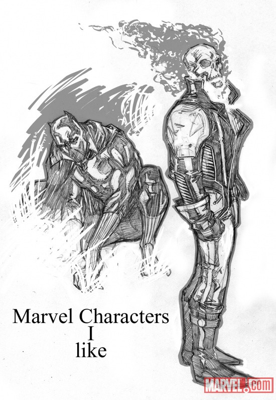 Ghost Rider and Black Panther sketch by Matthew Clark