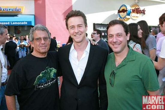 Uni's Ron Meyer, Edward Norton and Uni's Adam Fogelson