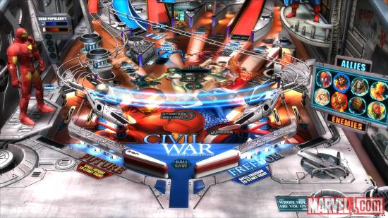 Close up of the Marvel Pinball: Civil War table
