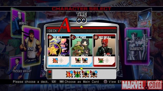 "Screenshot of Heroes & Heralds menu in ""Ultimate Marvel vs. Capcom 3"""