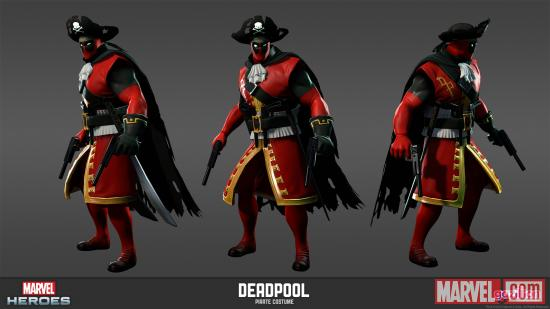 Deadpool (alternate costume) character model from Marvel Heroes
