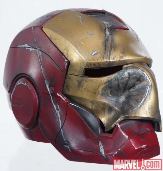 Crushed Mark III Iron Man helmet movie prop