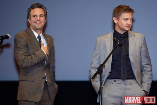 Mark Ruffalo and Jeremy Renner at the Moscow premiere of Marvel's The Avengers