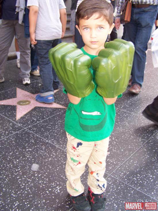 A young Hulk fan at El Capitan Theatre's midnight screening of Marvel's The Avengers