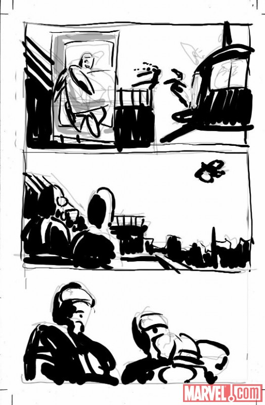 SECRET AVENGERS #1 sketch page by Mike Deodato 2