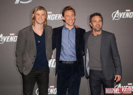 Chris Hemsworth (Thor), Tom Hiddleston (Loki) and Mark Ruffalo (Hulk) at the premiere of Marvel's The Avengers in Berlin