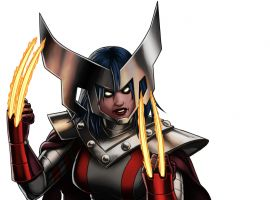 X-23 (Horseman of War costume) character model from Marvel: Avengers Alliance