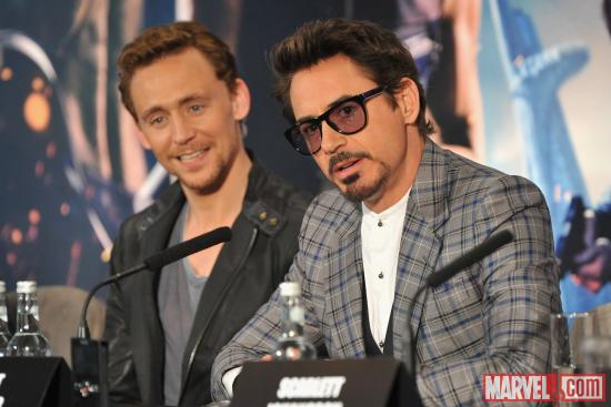 Robert Downey, Jr. and Tom Hiddleston at the London press conference for &quot;Marvel's The Avengers&quot;
