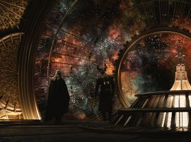 Thor (Chris Hemsworth) and Heimdall (Idris Elba) look out from the Observatory in Marvel's Thor: The Dark World