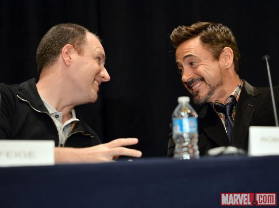 Marvel Studios President Kevin Feige and Iron Man 3 star Robert Downey, Jr. at San Diego Comic-Con 2012