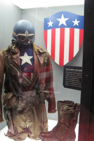 Cap's WWII uniform at the Captain America: The Living Legend and Symbol of Courage exhibit at Disneyland Park in Anaheim