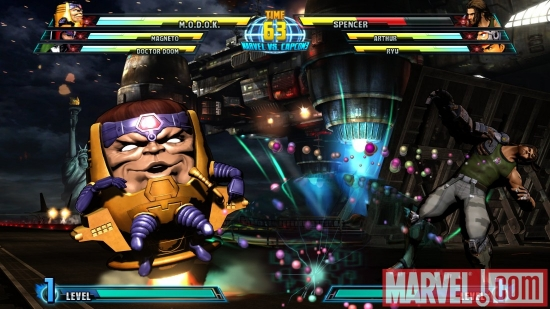 M.O.D.O.K. vs. Spencer screenshot from Marvel vs. Capcom 3