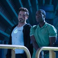 Robert Downey, Jr. and Don Cheadle star as Tony Stark/Iron Man and Rhodey/Iron Patriot in Marvel's Iron Man 3