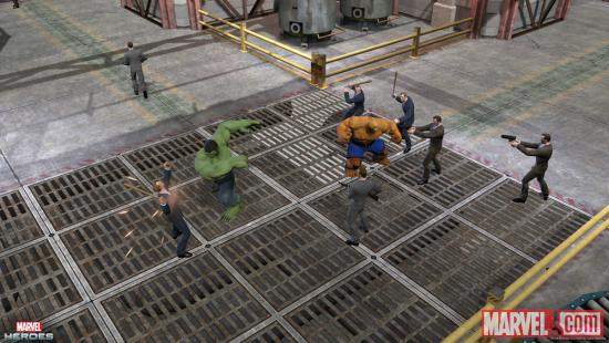 Screenshot of Hulk and Thing in action in Marvel Heroes