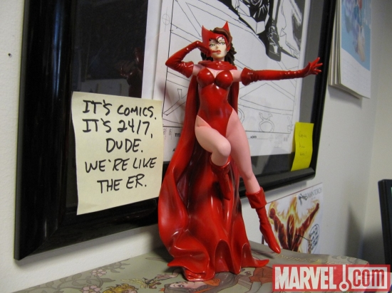 Scarlet Witch statue at Marvel HQ