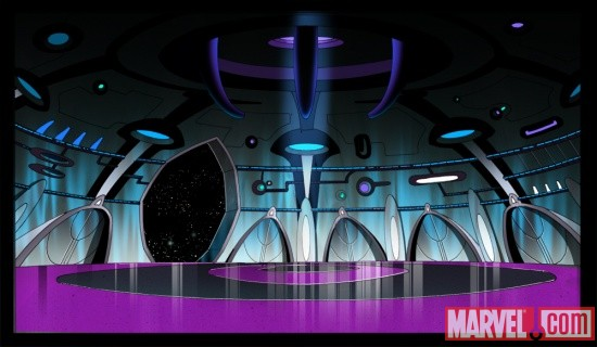 The Damocles' landing bay from The Avengers: Earth's Mightiest Heroes!