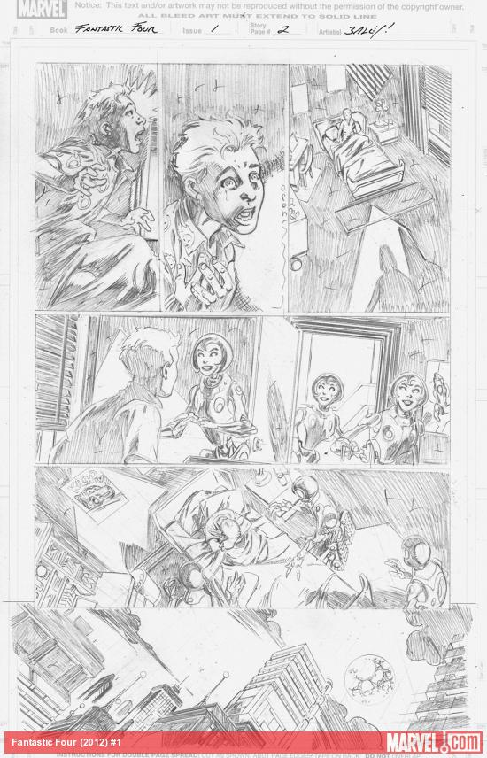 Fantastic Four (2012) #1 pencils by Mark Bagley